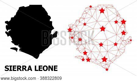 Wire Frame Polygonal And Solid Map Of Sierra Leone. Vector Model Is Created From Map Of Sierra Leone