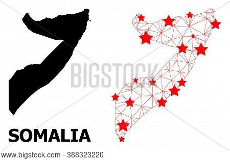 Carcass Polygonal And Solid Map Of Somalia. Vector Model Is Created From Map Of Somalia With Red Sta
