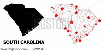 Network Polygonal And Solid Map Of South Carolina State. Vector Model Is Created From Map Of South C