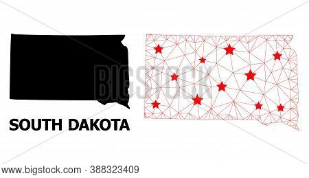 Wire Frame Polygonal And Solid Map Of South Dakota State. Vector Model Is Created From Map Of South
