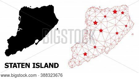 Wire Frame Polygonal And Solid Map Of Staten Island. Vector Structure Is Created From Map Of Staten