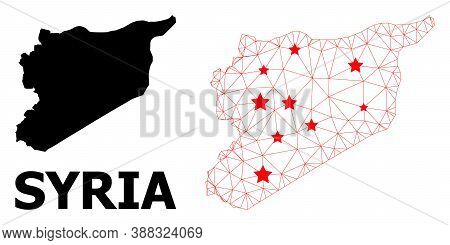 Wire Frame Polygonal And Solid Map Of Syria. Vector Structure Is Created From Map Of Syria With Red