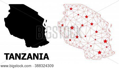 Carcass Polygonal And Solid Map Of Tanzania. Vector Model Is Created From Map Of Tanzania With Red S