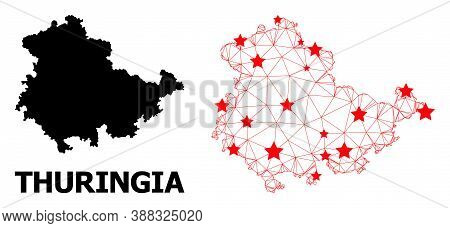Wire Frame Polygonal And Solid Map Of Thuringia State. Vector Model Is Created From Map Of Thuringia