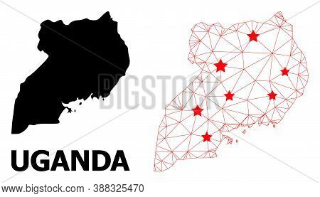 Carcass Polygonal And Solid Map Of Uganda. Vector Structure Is Created From Map Of Uganda With Red S