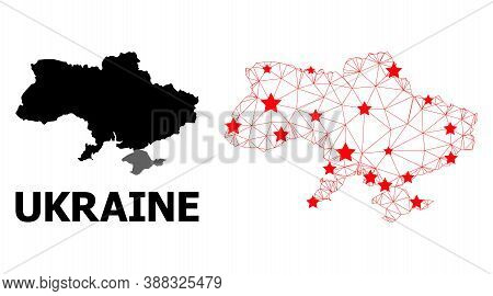 Mesh Polygonal And Solid Map Of Ukraine. Vector Structure Is Created From Map Of Ukraine With Red St