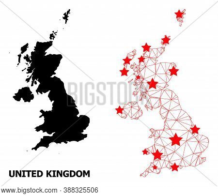 Wire Frame Polygonal And Solid Map Of United Kingdom. Vector Model Is Created From Map Of United Kin