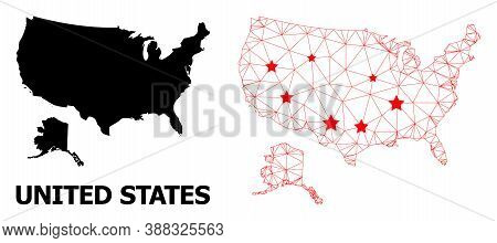 Wire Frame Polygonal And Solid Map Of Usa And Alaska. Vector Structure Is Created From Map Of Usa An