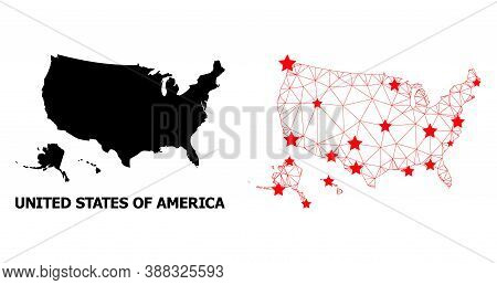Mesh Polygonal And Solid Map Of Usa Territories. Vector Structure Is Created From Map Of Usa Territo
