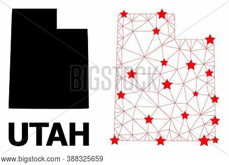 Wire Frame Polygonal And Solid Map Of Utah State. Vector Structure Is Created From Map Of Utah State