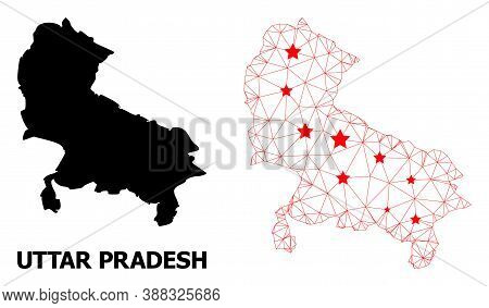 Mesh Polygonal And Solid Map Of Uttar Pradesh State. Vector Model Is Created From Map Of Uttar Prade