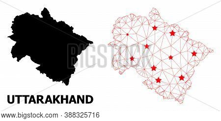 Mesh Polygonal And Solid Map Of Uttarakhand State. Vector Model Is Created From Map Of Uttarakhand S