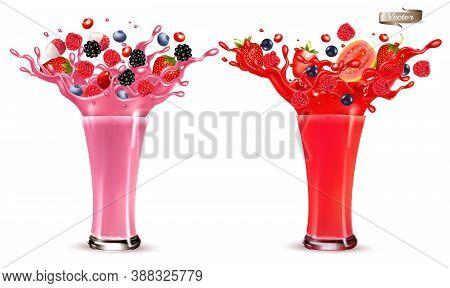 Sweet Berry Juice Splash. Whole And Sliced Strawberry, Raspberry, Cherry Blueberry, Blackberry And G