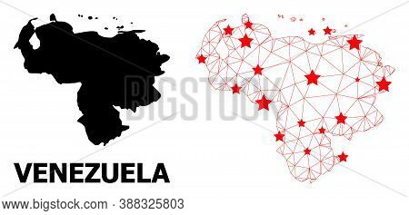 Wire Frame Polygonal And Solid Map Of Venezuela. Vector Model Is Created From Map Of Venezuela With