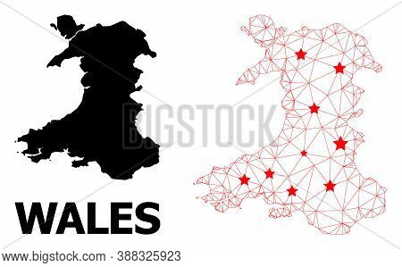 Wire Frame Polygonal And Solid Map Of Wales. Vector Structure Is Created From Map Of Wales With Red