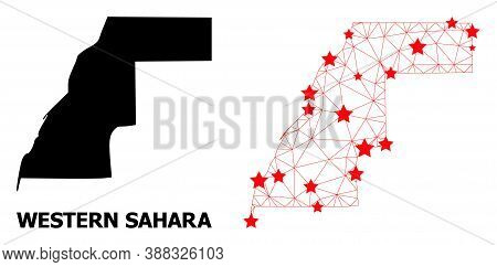 Network Polygonal And Solid Map Of Western Sahara. Vector Structure Is Created From Map Of Western S
