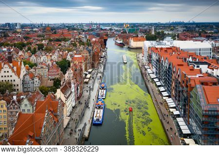 Aerial view of the old town in Gdansk over Motlawa river, Poland