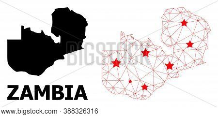 Wire Frame Polygonal And Solid Map Of Zambia. Vector Structure Is Created From Map Of Zambia With Re