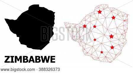 Network Polygonal And Solid Map Of Zimbabwe. Vector Structure Is Created From Map Of Zimbabwe With R