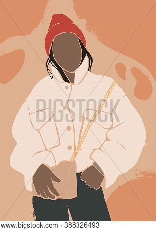 Abstract Woman Vector Portrait With Textures. Contemporary Art With Terracotta Colors. Fashion Femal