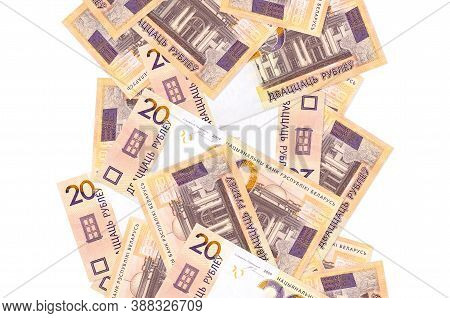 20 Belorussian Rubles Bills Flying Down Isolated On White. Many Banknotes Falling With White Copyspa