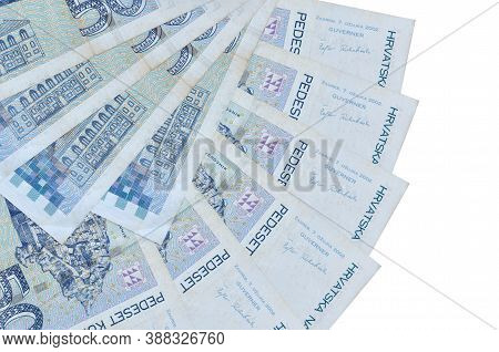 50 Croatian Kuna Bills Lies Isolated On White Background With Copy Space Stacked In Fan Shape Close