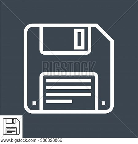 Floppy Disk Thin Line Vector Icon. Flat Icon Isolated On The Black Background. Editable Eps File. Ve