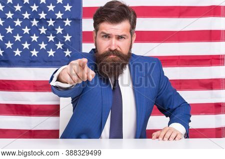 Did You Apply For Usa Citizenship. Bearded Man Point Finger. American Citizen National Flag Backgrou
