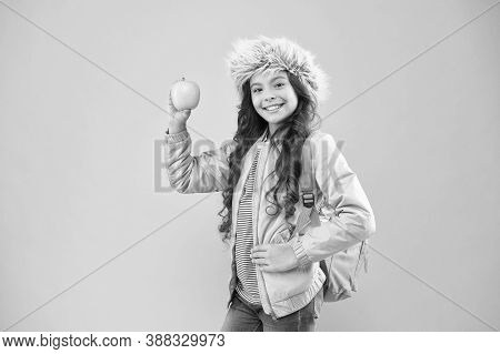 Eating Natural Food. Lunch Time. Winter Semester. Teen With Backpack. Healthy Snack. Modern Educatio