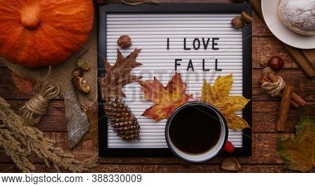 Flatlay Letter Board With Sign Love Fall