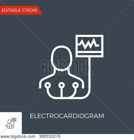 Electrocardiogram Thin Line Vector Icon. Flat Icon Isolated On The Black Background. Editable Stroke
