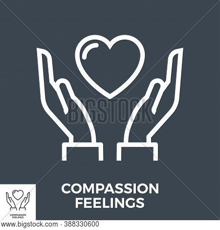 Compassion Feelings Thin Line Vector Icon Isolated On The Black Background.