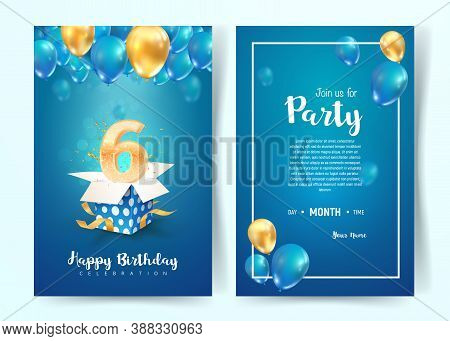 Celebration Of 6 Th Years Birthday Vector Invitation Cards. Six Years Anniversary Celebration. Print