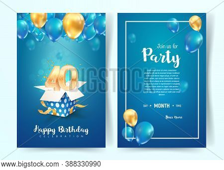 Celebration Of 40 Th Years Birthday Vector Invitation Card. Forty Years Anniversary Celebration Broc