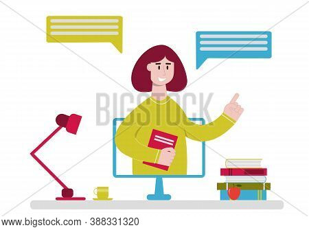 Online Teacher Telling From Computer Monitor. Concept Of Online Education, Studying And Homeschoolin