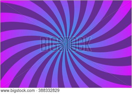 Purple Rays On Light Background. Sun Texture. Abstract Pattern On Pink Backdrop. Psychedelic Swirl.