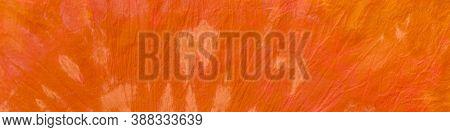 Batik Pattern. Watercolour Poster. Orange Wrinkled Ink Paper. Bohemian Texture. Swirl Tie Dye. Happy