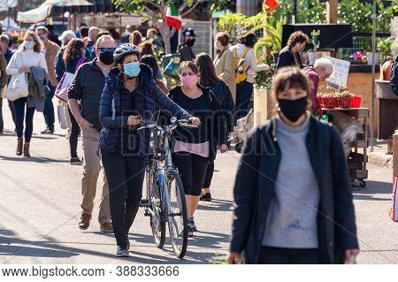 Montreal, Ca - 4 October 2020: Many People Wearing Coronavirus Face Masks At Jean Talon Market