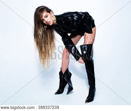 Sexy Woman Legs In High Black Boots. Fetish Fashion. Isolated On White. Womans Shoes