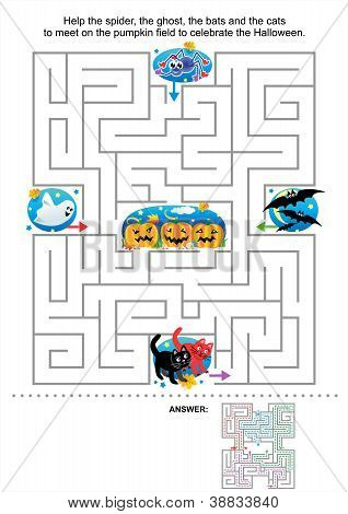 Halloween maze game for kids
