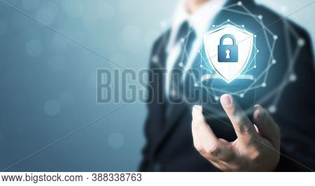 Protection Network Security Mobile Smart Phone And Safe Your Data Concept. Digital Crime By An Anony