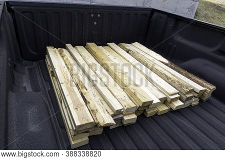 Pile Of Wood In Truck For Delivery