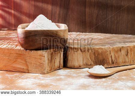 Baking Soda - Sodium Bicarbonate Natural Powder, Photo On Wooden Background.