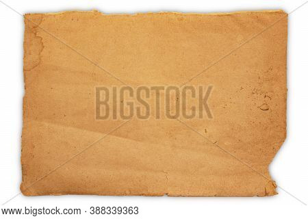 Old Vintage Brown Paper Texture Isolated On White Background, Kraft Paper Horizontal With Unique Des