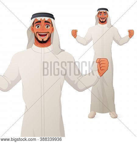 Excited Arab Man Celebrating Success With Raised Hands And Wide Smile. Vector Cartoon Character.