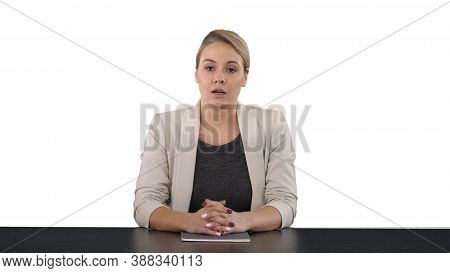 Young Beautiful Television Announcer Giving A Speach, White Back