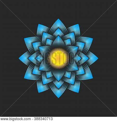 Blue Big Dahlia Flower Logo, Floral Decoration Pattern, Many Petals From Thin Lines 3d Visual Effect