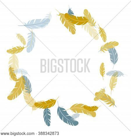Sophisticated Silver Gold Feathers Vector Background. Smooth Plumelet Tribal Ornate Graphics. Plumag