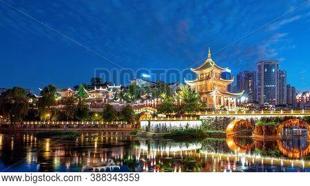 Guiyang, China Skyline At Jiaxiu Pavilion On The Nanming River. Translation: