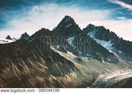 Incredible view of mountain peak in French Alps. Monte Bianco range, Mont Blank massif, France. Landscape photography